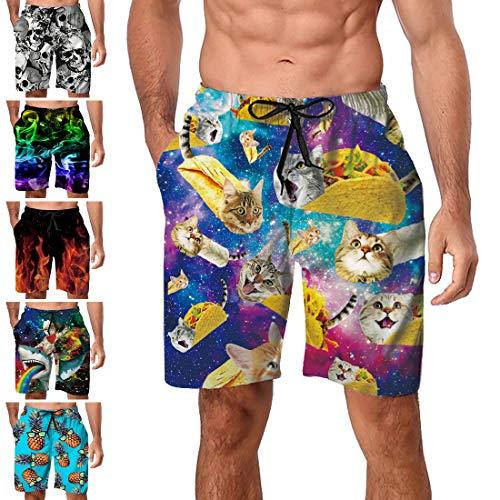 Freshhoodies Men Swim Trunks Galaxy Taco Burrito Pizza Cat Summer Holiday Casual Beach Shorts Novelty Swimwear with Mesh Lining X-Large