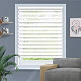 Amingrui Zebra Roller Blinds with Dual Layer Sheer Window Shades Privacy Light Control, Day and Night Roller Shades [FBA-White, Size34 W x 36' H] Custom Cut to Size, 20 to 110 inch Wide