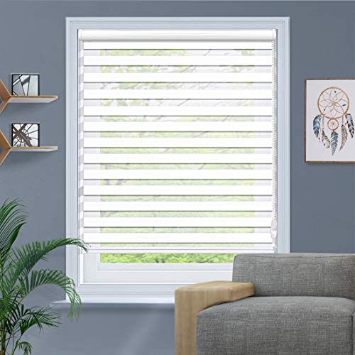 of custom accessories blinds Amingrui Zebra Roller Blinds with Dual Layer Sheer Window Shades Privacy Light Control, Day and Night Roller Shades [White, Size12 1/2