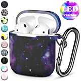 Henva Cover Designed for AirPods Case (Front LED Visible), Silicone Protective Cases Skin Compatible with AirPods 2 & 1 Wireless Charging Case, Women, Men, with Keychain, Starry Sky