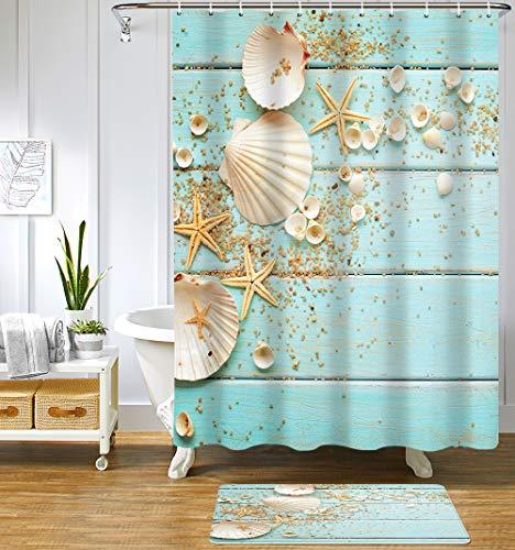 Uphome Beach Shower Curtain Aqua Seashell and Starfish Coastal Shower Curtain Set with Hooks Summer Ocean Nautical Fabric Bathroom Curtain Heavy Weighted,72x72