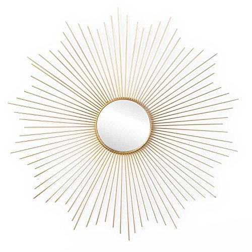 Espejo Star, Metal, Color Dorado, Forma de Sol. Estilo nórdico. 64x64x2 cm.