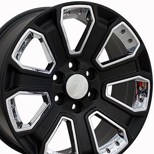 OE Wheels LLC 20 Inch Fits Chevy Silverado Tahoe GMC Sierra Yukon Cadillac Escalade CV93 20x8.5 Rims Satin Black with Chrome SET