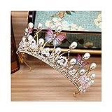 YUNGYE Romántico Lindo Azul Rosado de la Mariposa Coronas de Boda Prom Princesa Girls Cristales de Perlas Tiara Diadema Novia del Casco de la Diadema (Metal Color : Butterfly)