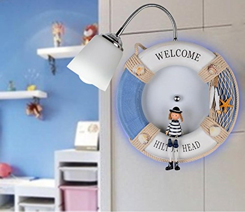 StiefelU LED Wandleuchte nach oben und unten Wandleuchten Kinder Zimmer Schlafzimmer der Mittelmeer Wandleuchte kinder Bett cartoon Wandleuchten LED, 7W LED Ball funkelnden weien Licht