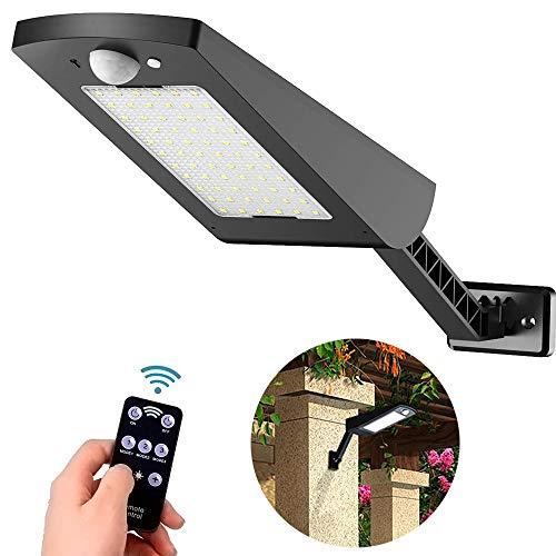 Luces Solares al aire libre con Sensor de Movimiento Infrarrojo de 120 °, 66 LED de Luz Solar Jardín, Lámpara de pared Impermeable IP65 Ajustable 3 modos con control remoto para jardín, patio, cerca