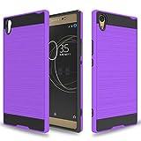 Wtiaw Für: Sony Xperia XA1 Ultra Hülle, Sony Xperia XA1 Ultra Dual Hülle, [TPU + PC Material] [Gebürstetes Metall] Hybrid Dual Layer Defender Hülle für Sony Xperia XA1 Ultra-CL, Violett