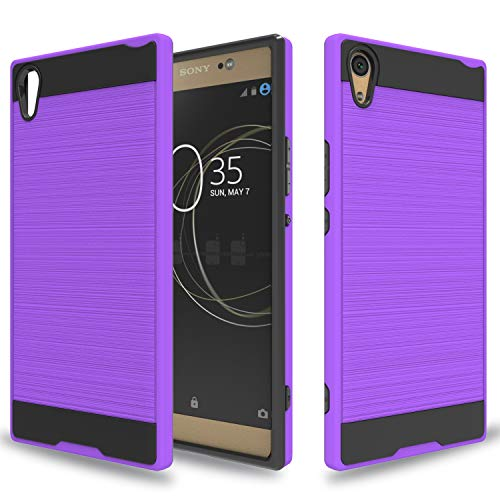 Wtiaw for:Sony Xperia XA1 Ultra Case,Sony Xperia XA1 Ultra Dual Case, [TPU+PC Material] [Brushed Metal Texture] Hybrid Dual Layer Defender Case for Sony Xperia XA1 Ultra-CL Purple