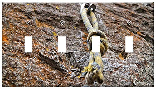 Switch Plate 4 Gang Toggle - Knot Climbing Climb Yellow Rock Tight Trust