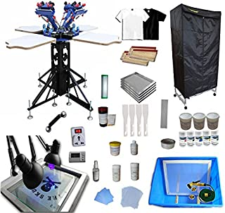 INTBUYING 4 Color 4 Station Screen Printing Kit T-Shirt Screen Printing Machine