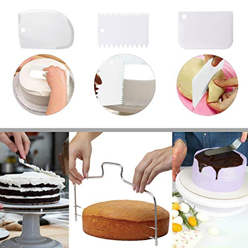 Cake Decorating Turntable,Cake Decorating Supplies With Decorating Comb/Icing Smoother(3pcs),2 Icing Spatula With Sided & Angled …
