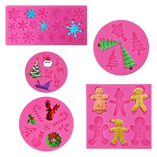 Rainmae 5 Pcs Christmas Cake Silicone Fondant Molds, Party Cupcake Topper Decorating Tools, Silicone Chocolate Candy Mold Gum Paste Polymer Clay Resin Mould(Christmas tree santa claus snowflake elk)