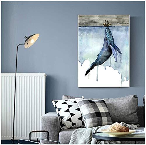 """Surfilter Print auf Leinwand Walhai Schiff Abstrakte Wandkunst Leinwand Malerei Poster Drucke Bilder für Wohnzimmer Home Decorative 27.5& rdquo; x 39,4""""(70x100cm) No Frame"""