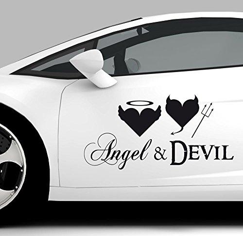 GRAZDesign Autoaufkleber Tattoo für Auto lustiges Spruch Angel & Devil Engel Teufel   Heckscheiben-Aufkleber selbstklebend (40x20cm // 070 schwarz)