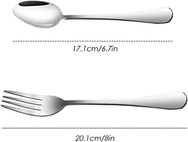 Set of 12, Stainless Steel Dinner Forks and Spoons, findTop Heavy-duty Forks (8 Inch) and Spoons (7 Inch) Cutlery Set