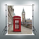 Planck 5x7ft Red Telephone Booth Big Ben Photography Backdrop Britain England London Fog Capital Background Famous Landmark Nostalgia Retro City Holiday Tour Studio Props