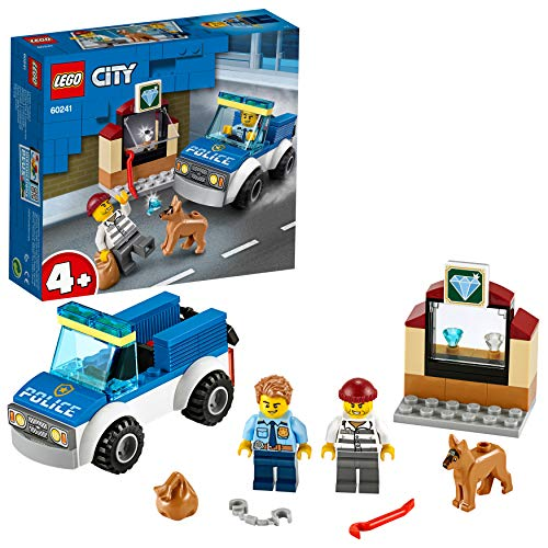 LEGO City Police Unit Cinofila della Polizia Set di Costruzioni Ricco di Dettagli con Minifigure dell'Agente e del Ladro, per Bambini +4 Anni, 60241