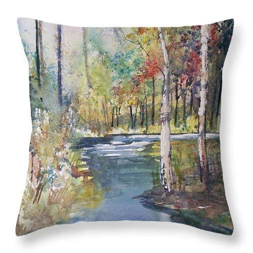 Lplpol Hartman Creek - Funda de cojín cuadrada de lino y algodón, 40,6 x 40,6 cm