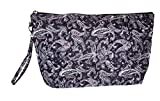 Quilted Cosmetic Make Up Clutch Pouch Bag, (Blank - Gray Black Paisley)