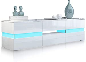 TV Cabinet Stand Wood Storage Entertainment Unit RGB LED Light High Gloss Storage 2 Door & 1 Drawer White 177cm