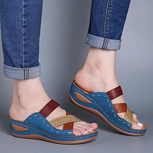 Chanclas clásicas,Color a Juego con Sandalias de Damas, Pendiente de Gran tamaño con Zapatillas para Mujer-Azul_39,Sandalia Casual de Tiras
