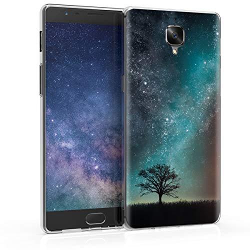 kwmobile Hülle kompatibel mit OnePlus 3 / 3T - Hülle Handy - Handyhülle Galaxie Baum Wiese Blau Grau Schwarz