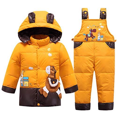 2 Stück Baby Skianzug Daunen Jacke mit Kapuze mit Schneelätzchen Hose Winter Schneeanzug Unisex Outfit-Set Gelb 2-3 Jahre