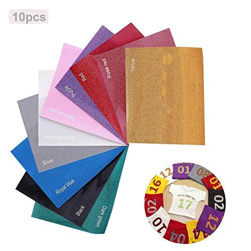 10 PCS Papel de vinilo textil imprimible | Hojas de vinilo de papel transfer Vinilo de transferencia de calor para tela de camisetaspara camisetas y tejidos varios (10x12inch),10 hojas de colores