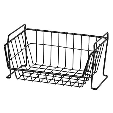 IRIS Small Stacking Basket,Black, 6 Pack