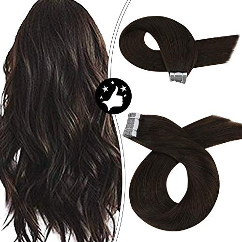Moresoo Echthaar Tape on Extensions 22zoll Farbe #2 Dunkelstes Braun Tape in Kleber Extensions Remy Seamless Human Hair Extentions 50g/20pcs