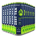 Zest Tea Energy Iced Tea, High Caffeine Low Sugar Blend Natural & Healthy Black Coffee Substitute, 150 mg Caffeine per 12 Oz Can, Pomegranate Mint, 12 Pack