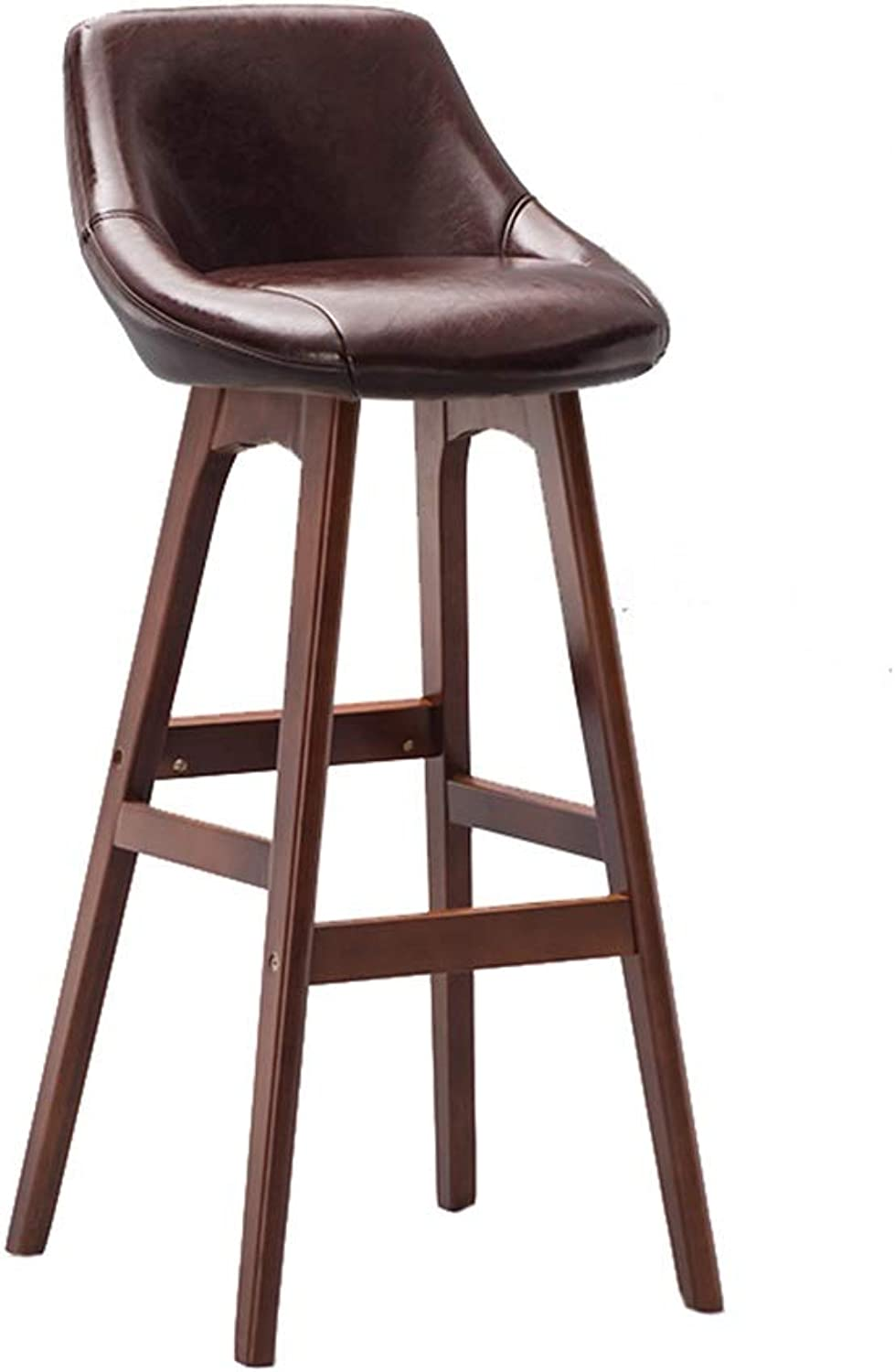 Wooden Brown Barstool High Stool Breakfast Dining Stool for Kitchen Home Bar Counter Commercial Chair with Backrest and Brown PU Cushion Concise Style - Height 79.5cm