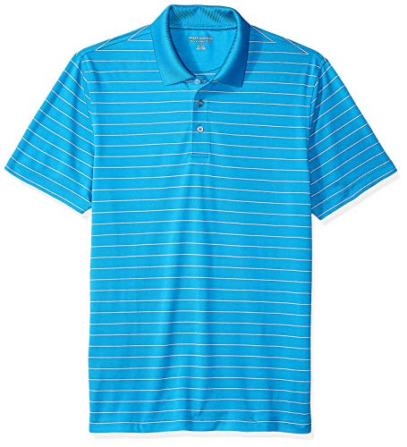 Amazon Essentials Men's Slim-Fit Quick-Dry Golf Polo Shirt, Electric Blue Stripe, Large