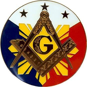 Square & Compass Sun Round Masonic Auto Emblem - [Red White Blue][3   Diameter]