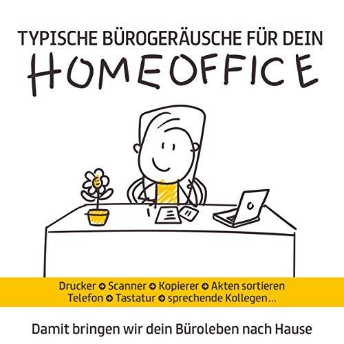 Typische Bürogeräusche für dein Homeoffice; Damit bringen wir dein Büroleben nach Hause; Die Bürosoundkulisse; Drucker; Scanner; Kopierer; Telefon; Tastatur; sprechende Kollegen; Akten sortieren