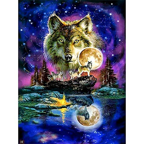 DIY 5D Diamond Art Kit for Adults Kids, Y1 Moonlight Lake Water Wolf PackPictures Rhinestone Cross Stitch Pasted Painting Arts Craft for Home Office Wall DecorationSquare Drill,40x50cm