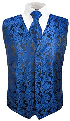Festliche Jungen Anzug Weste mit Krawatte 2tlg schwarz blau Paisley für Kinderanzug 170-176 (16 Jahre)