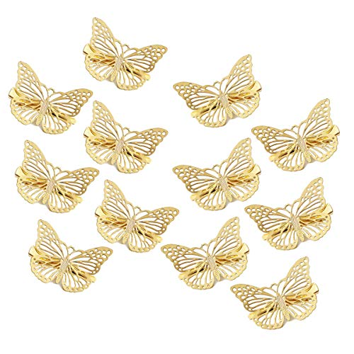 OBTANIM Butterfly Hair Clips, 12 Pcs Cute Metal Butterfly Hair Claw Pins Barrettes Accessories for Girls and Women (Gold)