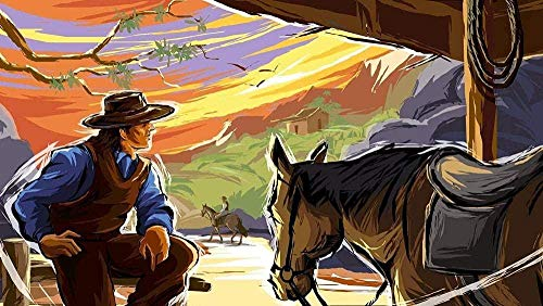 Wooden Jigsaw Puzzle 1000 Pieces,adult Art Jigsaw Toy Cool And Challenging Western Cowboy And Horse