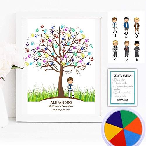 Cuadro de árbol de huellas con niño de comunión. Varios tamaños y colores de marco.Tintas e instrucciones incluidas. Banner e invitación a juego si lo deseas.MODELO SIXTY