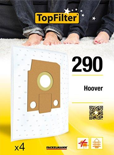 TopFilter 290, 4 sacs aspirateur pour Hoover boîte de sacs d'aspiration en non-tissé, 4 sacs à poussière (30 x 26 x 0,1 cm)