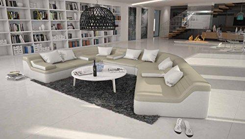 Rund-Sofa mit Bezug aus creme / weißem Kunstleder 410x272 cm halbrund | Catoca | Designer Wohnlandschaft im XXL Format Recamiere rechts | Couch-Garnitur für Wohnzimmer creme / weiß 410cm x 272cm