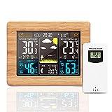 Konesky Previsione Stazione Metereologica, Wireless USB Orologi Digitale di Monitoraggio Meteorologico Meteo Interna Termometro Esterno con Temperatura umidità, Data Display Sveglia (bambù Giallo)