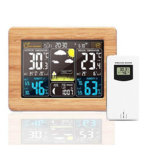 Konesky Prognose Wetterstation, USB Drahtlose Wetterüber Wachungs Uhren mit Außensensor Temperatur, Luftfeuchtig Keit, Datumsanzeige Wecker (Bambusgelb)