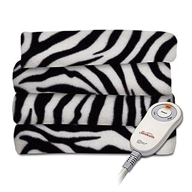 Sunbeam Fleece Heated Throw Blanket, Zebra Black (TSF8TP-R901-33A00)