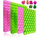 4 Pieces Heart & Fruits Shaped Silicone Mold, Baking Trays for Chocolate Candy Gummy Candle Crayons Ice Cube - 66 Cavities, 55 Cavities