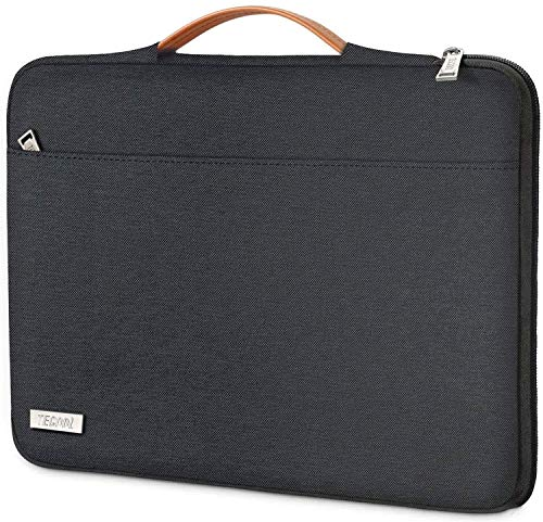 TECOOL Laptop Hülle Tasche für 14 Zoll Lenovo Thinkpad Ideapad HP Acer Dell Notebook Chromebook, 15 Zoll Surface Laptop 3, 2016-2019 MacBook PRO 15 Schutzhülle Notebooktasche Sleeve mit Handgriff, Schwarz