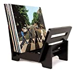 """ZonsWorld - Vinyl Record Holder Storage - Display Up to 50 Albums, Fits 7"""" and 12"""" Records or LPs - Music Record Storage and Organizer - Black Bamboo"""