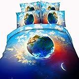 HWY Ropa de Cama Blue Star Sky 3pcs Set Funda nórdica King Size Funda de Almohada para Dormitorio o Club