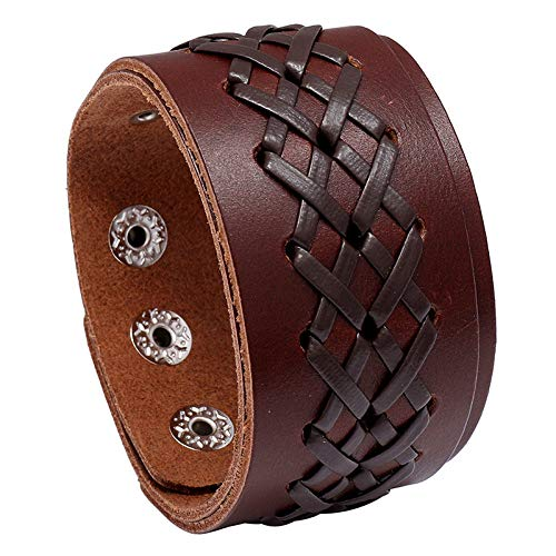 DDSCB Pulsera Hombre Cuero,Mens Leather Bracelet,Vintage Brown Braid Wide Leather Bracelets with Adjustable Buckle Punk Bangle Cuff Wristband For Women Husband Teens